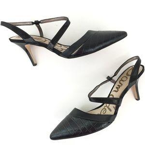 Sam Edelman leather black slingback heels pointy